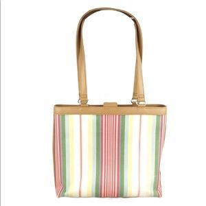 Fossil striped canvas leather tote bag